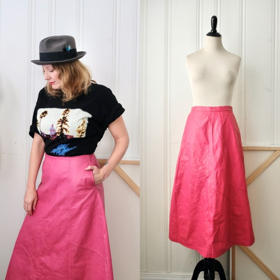 70s Leather City Barbie Pink A Line Leather Skirt