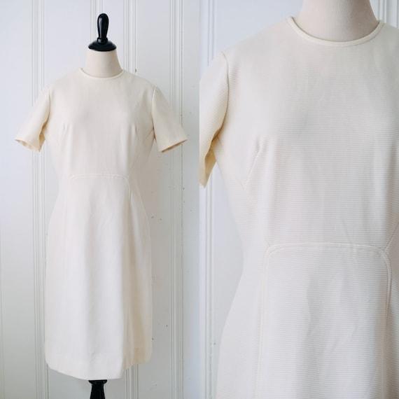 60s Cream White Mini Mod Dress Size 16