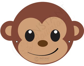 graphic regarding Monkey Mask Printable known as Do it yourself monkey mask Etsy