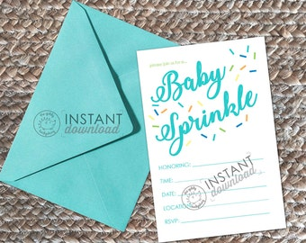 Sprinkle invitation etsy printable diy baby sprinkle baby shower invite boy sprinkle invite blue sprinkles invitation write in instant download 4x6 customize card filmwisefo