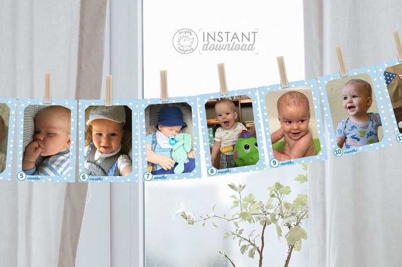 Printable DIY 1st Birthday Photo Banner Monthly Photos Boy