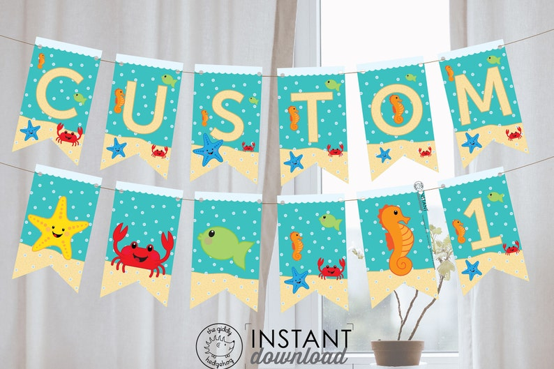 Diy Printable Under The Sea Banner Custom Name Ocean Birthday Etsy