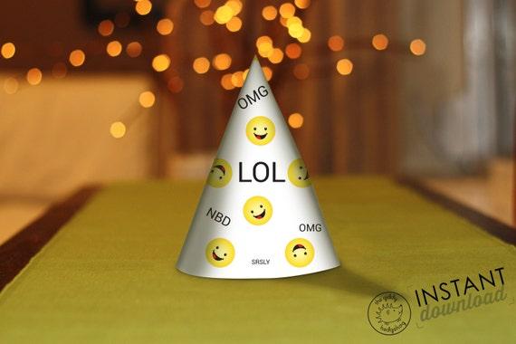 Printable DIY Emoji Party Hat Birthday