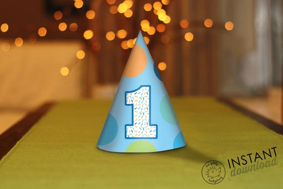 Printable DIY Boy First Birthday Party Hats ONE