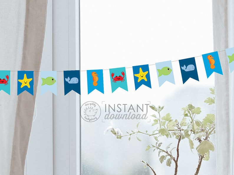 Small Printable Diy Ocean Banner Nautical Whale Sea Sailor Etsy