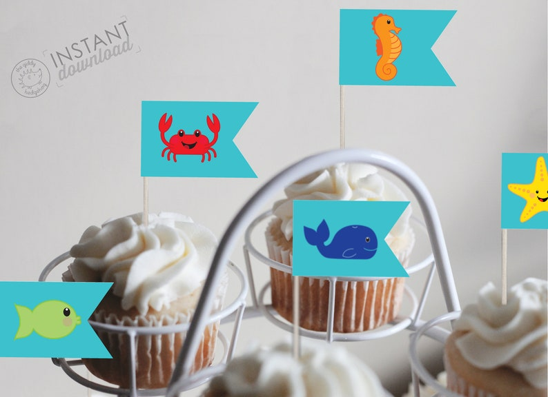 Diy Printable Ocean Cupcake Topper Decorations Cake Pop Sticks Etsy