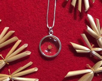 Sterling Silver Circle Mustard Seed Pendant