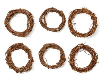 Brown Grapevine Wreath Round- 3 inches- SET OF 6 - Shabby Rustic Wedding Party Home Decor