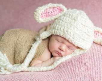 Lamb Baby Hat, Lamb Costume, Baby, Child, Lamb Hat, Sheep, Toboggan, Beanie, gifts, Crochet, Kids, Child, Toddler, Sheep Hat, Easter