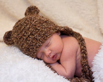 Bear Baby Hat, Teddy Bear, Bear Hat, Bear Costume, Toboggan, Beanie, gifts, Crochet, Child, Kids, Toddler, Toque, Costume, Boy, Girl