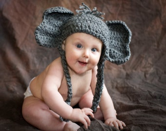Pattern Elephant Baby Hat, Quick, Alabama, Elephant Crochet Pattern, Elephant costume, Beanie, Toboggan, Animal, Newborn, Boy, Girl, Gift
