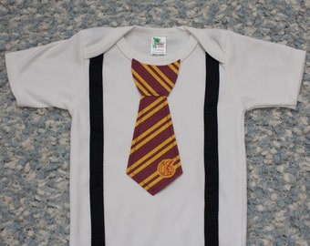 Harry Potter Onesie, with Tie, Harry Potter, Gryffindor baby, Shirt, Outfit, Newborn, Gryffindor Onesie, Creeper, Gryffindor