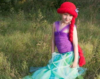 Ariel Hat, Little Mermaid, Child, Baby, Ariel Costume, Ariel Wig, Merida, Princess, Little Mermaid Costume, Crochet, Wig Kids, Toddler, Girl