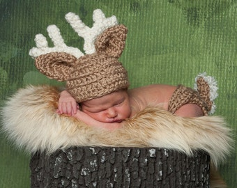 Deer Baby Hat and Diaper Cover, Toboggan, Deer Costume, Fawn, Reindeer,  Deer hat, gifts Beanie Crochet Kids Toddler Child Photography Prop