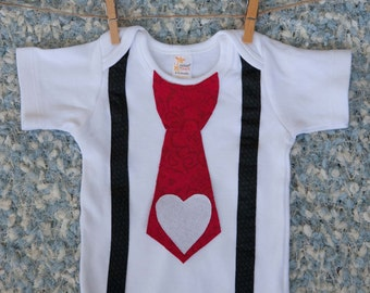 Valentine's Day Onesie, with Tie Heart Valentine's Baby, Shirt, Outfit Clothes, Christmas, Newborn Bodysuit Creeper, Wedding, Birthday First