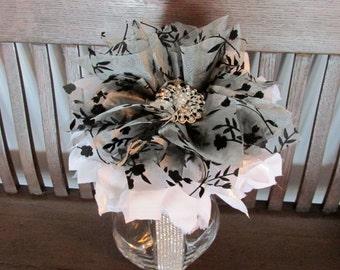 Wedding Centrepiece - Large Fabric Flower Centrepiece - Black and White Fabric Flower, Black and White Decor, Grey Decor