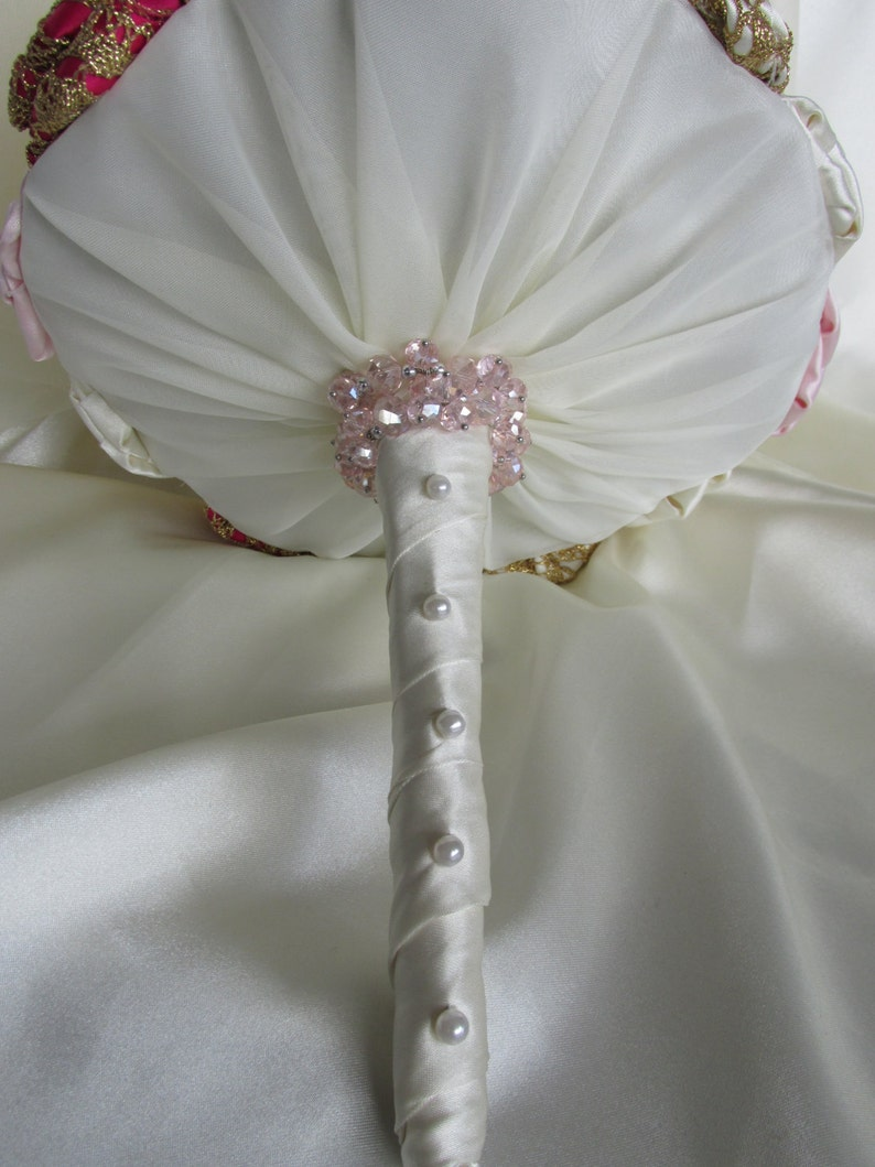 Gold Ivory and Pearl Wedding Bouquet Pink