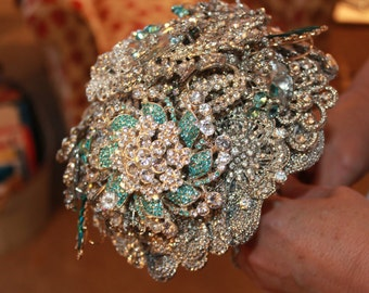 Turquoise Brooch Wedding Bouquet