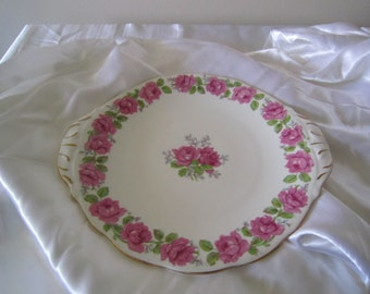 Handled Cake Plate in the Lady Alexander Rose pattern by Queen Anne, 1950's