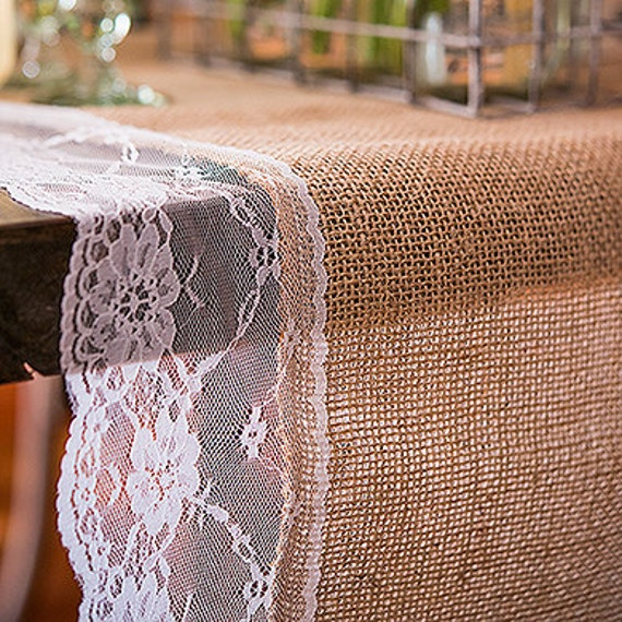 Burlap And Lace Table Runner Natural With Edging Etsy