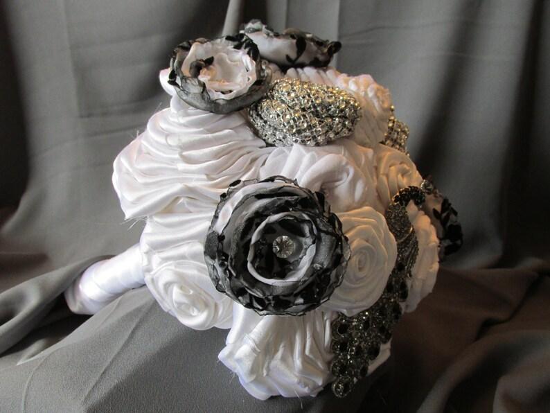 White Fabric Flower Bouquet Wedding Bouquet Black and White Bouquet