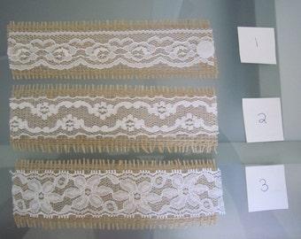 Burlap Lace Napkin Rings  - choose your lace option - set of 10 pieces