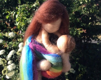 READY TO SHIP!!! Needle Felted Babywearing Mother and Baby in Rainbow Ring Sling