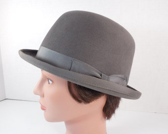 4480c8532c2 Vintage Grey Bowler Hat Gray Kentucky Derby English Equestrian Riding Hat  Steampunk Derby Hat Size 6 7 8 By Carl Meyers Lexington Kentucky