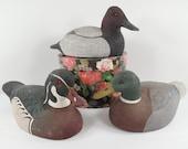 Canvasback Duck Wood Duck Mallard Duck Decoy Figurine Sculpture Statue Hand Painted Textured Composite Signed Dennis Huett Dated 1980s