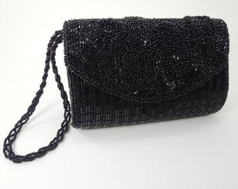 060705bd6e Vintage Black Beaded Wristlet Clutch Purse Handbag By Bijoux Terner Fully  Beaded Miniaudiere Style Convertible Beaded Wristlet Strap