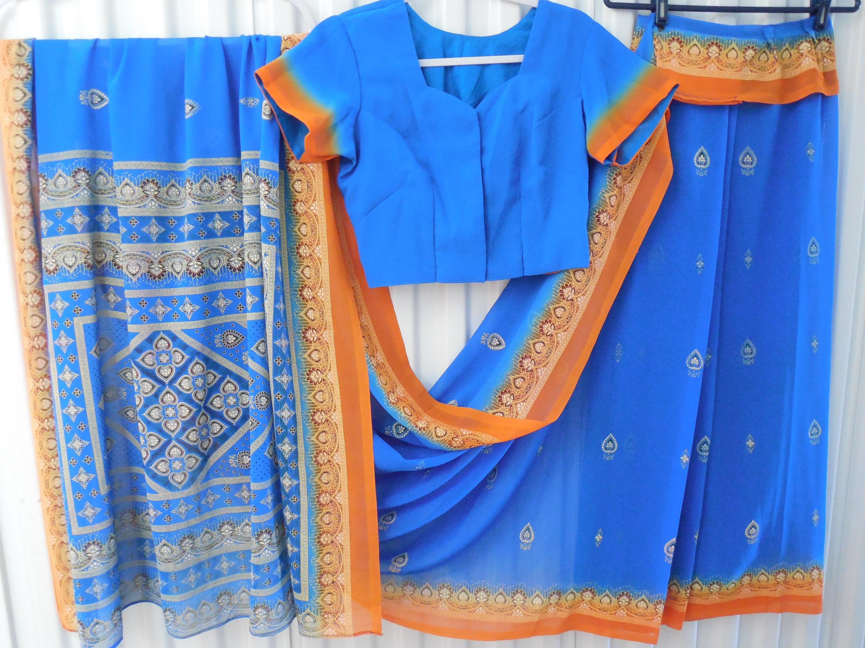 Vintage Scarf Styles -1920s to 1960s Blue  Orange Chiffon Gold Paisley Mandala Henna Design Accents Shagun Fancy Saree Sari Skirt Top Dress Attached Dupatta Scarf Wrap $0.00 AT vintagedancer.com