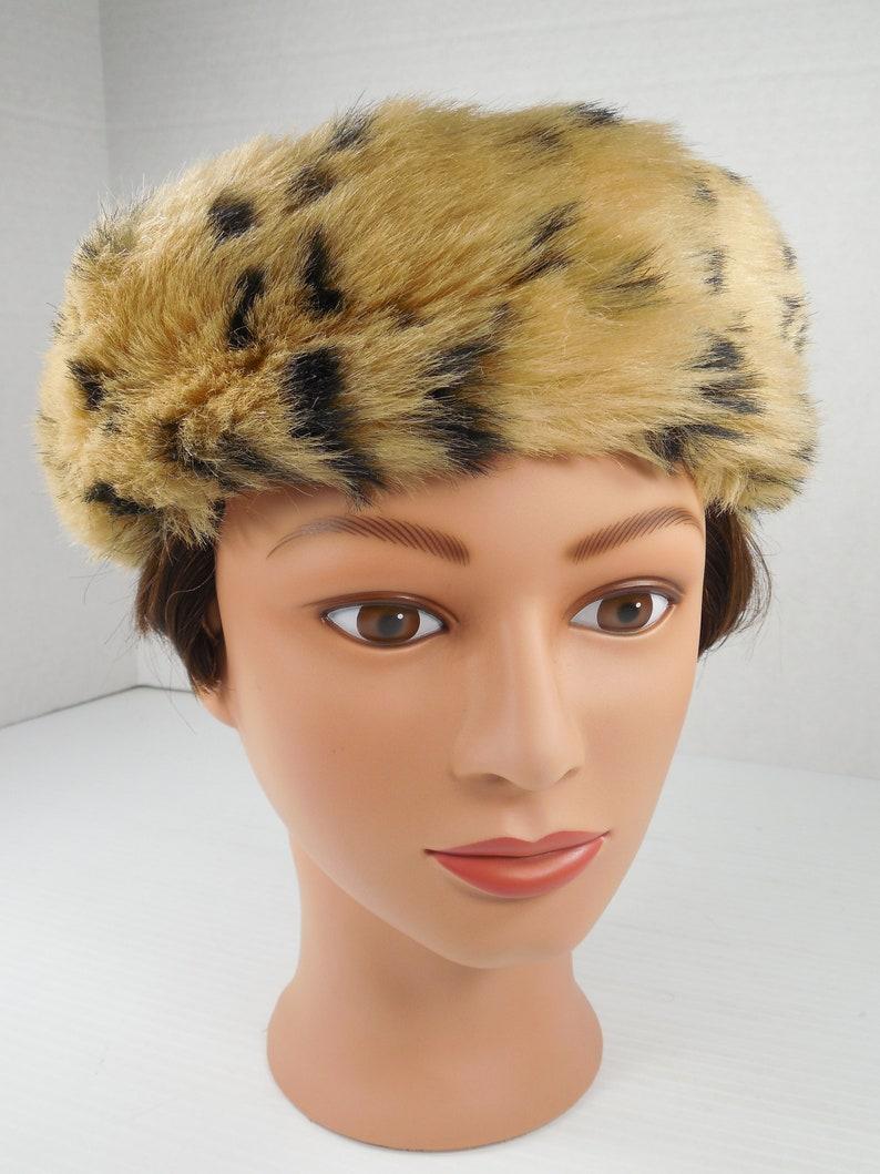 139f07154269c Vintage Faux Cheetah Fur And Black Velvet Pillbox Hat By