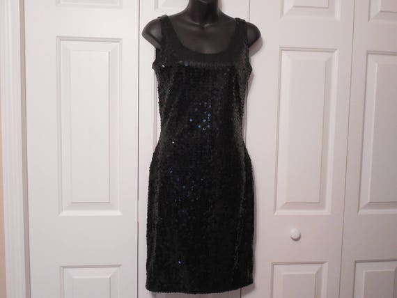 Vintage Black Sequin Dress By Nite Line Size 6 Size Small Full Etsy