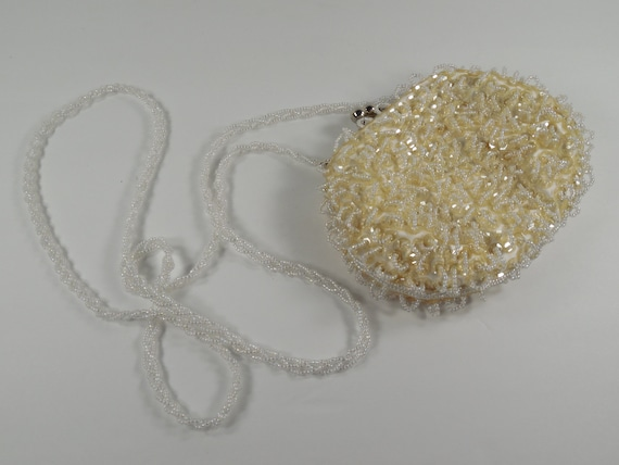 sequin and pearl beaded Holiday Party or bridal purse Silver kiss lock closure and wrist chain Winter white seed bead Gift packaged.