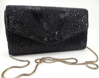 Vintage Dadas Black Beaded Clutch Purse Handbag Convertible, Gold Metal Bird Cage Chain Strap, Vintage Black Bead Clutch Handbag Convertible