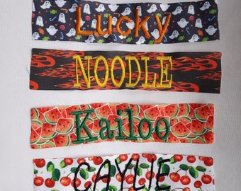 Embroidery for Bandanas, Collaramas, Collar Bands & Bow-tie Bands, Collars and Leashes