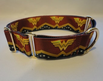 """Classic WONDER WOMAN  1.5"""" Wide Buckle, Martingale or Martingale-clip, with 1"""" Ribbon Design - silver or gold hardware.  M, L or XL"""