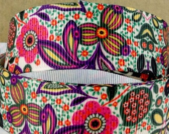 """Modern Floral 1.5"""" Wide - Martingale, Martingale-Clip - M, L, XL or Leashes, with 1"""" Ribbon Design, Pink Webbing"""