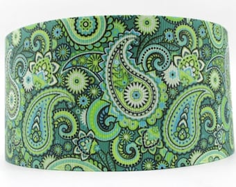 """Classic Green Paisley 1.5"""" Wide - Martingale or Martingale-clip - M, L, XL or Leash with 1.5"""" Ribbon Design, Green Webbing"""