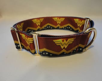 """Classic WONDER WOMAN  2"""" Wide Martingale or Martingale-clip, with 1 or 1.5"""" Ribbon Design - silver hardware.  M, L or XL"""