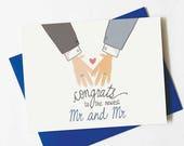 gay wedding card - same sex wedding card - mr and mr wedding congratulations card