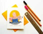 Funny Tattoo Fathers day card - card for dad- dad with muscled tatoo dad - best dad card for father's day- cute illustrated papa card
