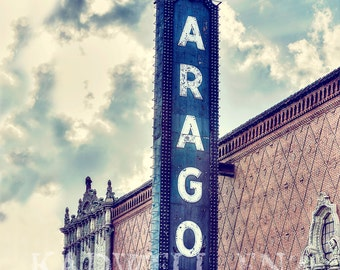 Chicago Photography, Aragon Ballroom, Cityscape Photo, Fine Art Print, Vintage Sign, Uptown Picture, Urban Landscape, Wall Print, Home Decor