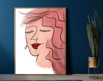 Digital Download: Scribble Face Drawing, Woman's Portrait, Trendy Art, Picasso Inspired, Abstract Line Art, Feminine, Personalize, Gift Idea