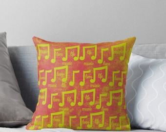 Modern Pop Art Pillow, Music Lover Pillow, Musical Notes, Pink Yellow, Dorm Decor, Teen, Music Major, Graduation Gift Idea, Fun, Distressed