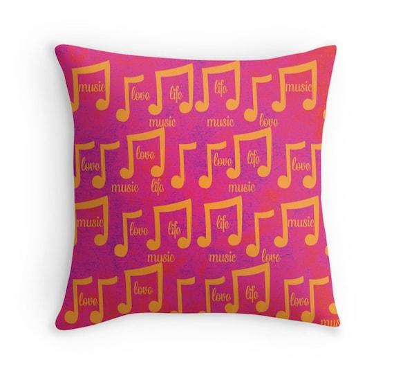 Graduation Gift Idea Fun Music Major Musical Notes Dorm Decor Modern Pop Art Pillow Music Lover Pillow Teen For Her, Hot Pink