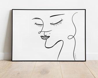 Digital Download: Scribble Face Drawing, Woman's Profile, Trendy Art, Picasso Inspired, Abstract Art, Black and White, Personalize, Gift
