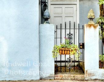 Charleston South Carolina Fine Art Photography 'Garden Door in Blue' 8x10 11x14 16x20 SC Print Southern Art Photo Home Decor Wall Art Gift