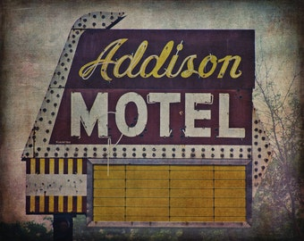 Addison Motel Neon, Chicago Photograph, Cityscape Photo, Fine Art Print, Vintage Sign, Old Neon Sign, Urban Landscape, Grunge, Busted Neon