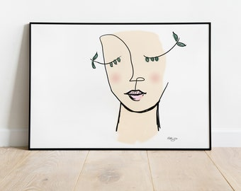 Abstract Portrait Scribble Face Drawing, Woman's Portrait, Trendy Art, Picasso Inspired, Abstract Line Art, Feminine, Personalize, Gift Idea